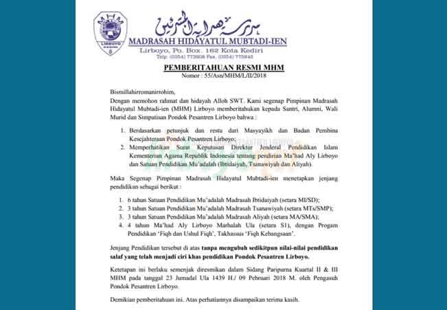 Surat Ketetapan Ma'had Aly MHM